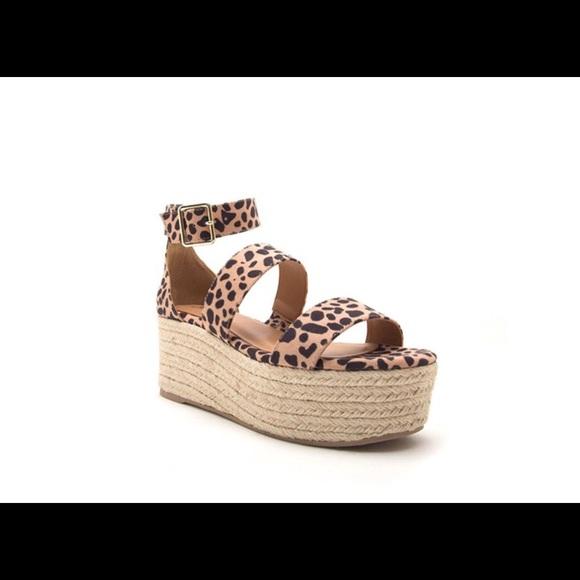 594b57a2fd7 Qupid High Platform Espadrille Sandals Tan Leopard Boutique